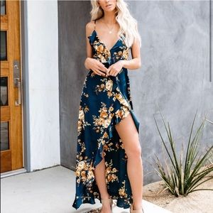 Vici - Satin floral maxi dress
